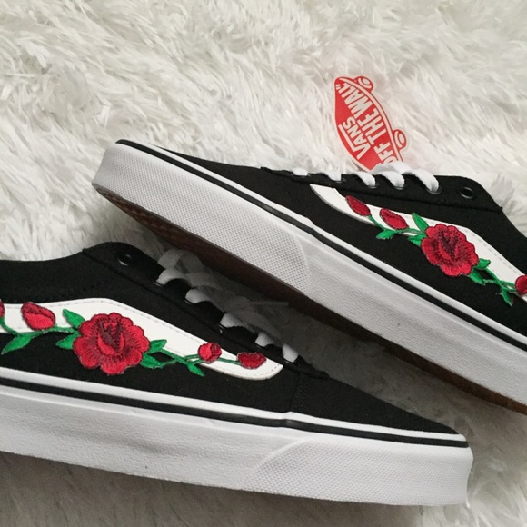 Black vans with red rose NWT